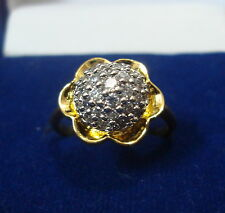 NEW ONE GRAM GOLD PLATED FLOWER DESIGN FINGER RING CUBIC ZIRCONIA DIAMOND F400