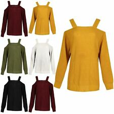Womens Chunky Knitted Jumper Ladies Straps Shoulder Baggy Oversized Top Sweater