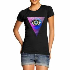 Twisted Envy Women's Abstract Eye Triangle T-Shirt