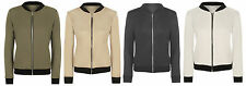 NEW WOMENS CONTRAST TRIM ZIP FASTENING BOMBER JACKET FIT SIZES 8-14, 4 COLOURS