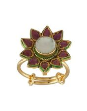 NEW ONE GRAM GOLD PLATED KUNDAN PACHIKAM STONE ADJUSTABLE FINGER RING F497