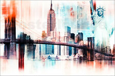 Poster / Leinwandbild USA NYC New York Abstrakte Skyline Collage - Nettesart