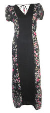 Monsoon Black & Floral Maxi Dress with Front Narrow Pleated Black Panel for