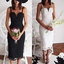 Fashion Spaghetti Strap Crochet Lace Sleeveless Bridal Party Formal Races Dress