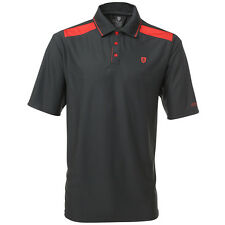 Island Green CoolPass Camisa Polo Golf Gris Carbón + Rojo Paneles M,L,XL,XXL