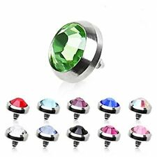 5mm DERMAL ANCHOR DOME HEAD CZ CRYSTAL GEM  316L SURGICAL STEEL 258