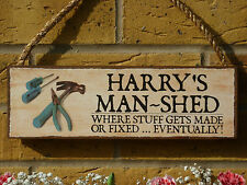 PERSONALISED GARDEN SHED SIGN MAN SHED SIGN UNIQUE GIFTS FOR MEN YOUR OWN NAMES