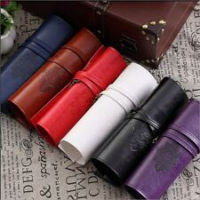 Vintage Retro Rollup Pencil Case Cosmetic Pouch Brushes Holder Make Up Bag UK