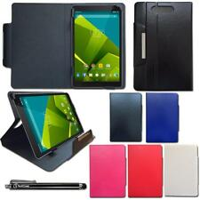 Universal Leather Wallet Case Cover Fits Hipstreet Pulse 9 Inch Tablet & Stylus