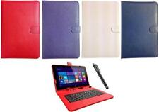 Keyboard Case Leather Cover Stand Wallet Folio fits 10.1 Inch Tablet + Stylus