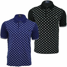 Mens Pique Polo Shirt Fred Perry Polka Dot Print T Shirt