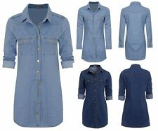 Womens Casual Cotton Button Down Vintage Long Sleeve Denim Jean Shirt Dress