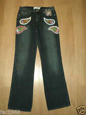 Almost Famous London Women's Bead Embroidery Jeans BootCut UK 10 L 33 New