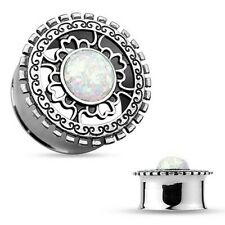 Flesh Tunnel Ohr Plug Piercing Double Flared 316L Stahl Inlay Opal Glitter Antik
