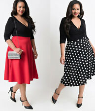 Plus Size 40s 50s Vintage Womens V Neck Rockabilly Evening Party Cocktail Dress