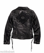 Harley Davidson Women Studs Dark Shadows Leather Jacket 97065-15VW S M L XL 2XL