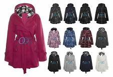 New Womens Hooded Belted Fleece Button Coat Ladies Check Hood Jacket Size 8-20