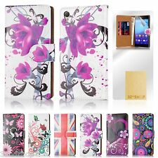 32nd Design Book Wallet Case Cover Sony Xperia Mobile Phones + Screen Protector