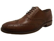 QUALITY NEW MENS LONDON BROGUES GATSBY TAN LEATHER WINGTIP BROGUE SHOES 7 - 12