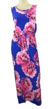 Marks & Spencer Bold Floral Stretchy Blue Maxi Dress with Scoop Neckline