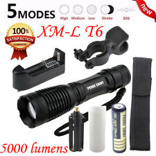 5000LM XM-L T6 LED Tactical Flashlight Torch Lamps +18650 Battery+Charger+Holder