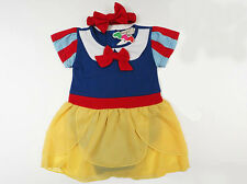 Snow White Fancy Dress Baby Girl Babygrow Romper Suit Bodysuit with Headband