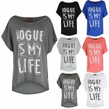 Ladies Dip Hem Vogue Is My Life Round Neck Oversized Womens High Low T Shirt Top
