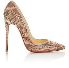 Christian Louboutin KRISTALI 120 Laser Cut Patent Heels Pumps Shoes Nude $1195