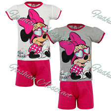 Girls Disney Official Minnie Mouse Short Sleeve  T Shirt & Shorts Pyjamas PJs