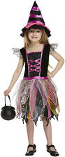 Childs Pink Witch Halloween Horror Fancy Dress Costume Age 4 - 12