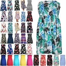 Womens Ladies Floral Sheering Ruched Flared Swing Bandeau Boobtube Top Plus Size