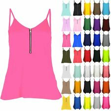 Womens Ladies Front Zip Cami Strappy Flared Swing Tank Vest Dress Top Plus Size