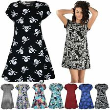 Womens Ladies Printed Summer Short Sleeve Flared Tunic Swing Dress Plus Size