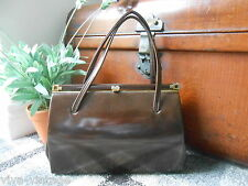Vintage 1950s Dark Brown Faux Patent Leather Clasp Top Retro Hand Bag Goodwood