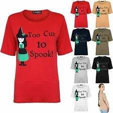 Womens Too Cute To Spook Halloween Top Ladies Baggy T Shirt Oversized Jersey Tee