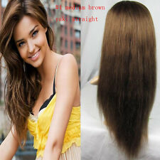 """Straight Hair Wig 10""""-20"""" Full Lace Glueless Wigs 100% Remy Indian Human #4 Yaki"""
