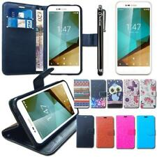 Leather Wallet Case + Glass Screen Protector + Stylus For Vodafone Smart Prime 7