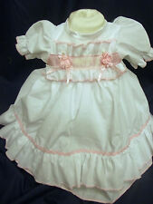 DREAM BABY PINK ROMANY NETTED DRESS NEWBORN 0-3 3- 6 MONTHS OR REBORN DOLLS