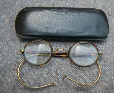 ANTIQUE HADLEY PEBBLE/ROUND FAUX TORTOISE SHELL/GOLD WIRE SPECTACLES/GLASSES