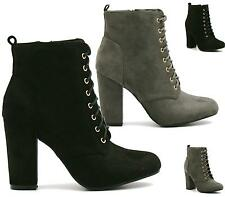 WOMENS BLACK LACE UP GOLD EYELET CHUNKY BLOCK HIGH HEEL ANKLE BOOTS SIZE