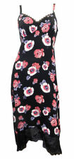 Marks & Spencer strappy black dress with bold floral design & dip lace hem