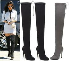NEW WOMENS THIGH HIGH BOOTS LADIES OVER THE KNEE STRETCH EVENING HIGH HEEL BOOTS