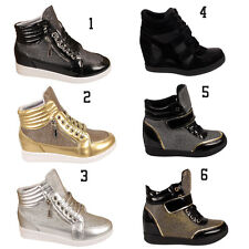 Ladies Womens High Top Lace Up Shiny Sports Wedge Ankle Boots Trainers Sneakers
