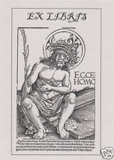 EX LIBRIS BOOKPLATE Pain Man sitting on the Cross