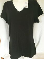 T-shirt Black Raw Edge V Neck BNWT