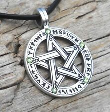PEWTER Pentacle PENTAGRAM Pagan Wiccan PERIDOT Crystal AUGUST Birthstone Pendant