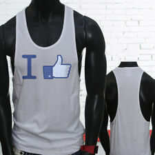 Thumbs Likes Followers Subscribe I Like Facebook Mens White Sports Tank Top