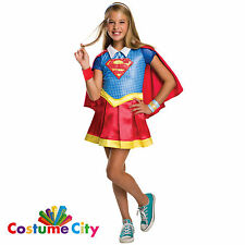 Childs Official DC Superhero Girls Deluxe Supergirl Fancy Dress Party Costume