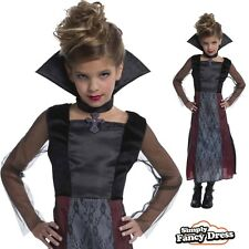 Girls Gothic Vampiress Halloween Party Outfit Kids Fancy Dress Costume