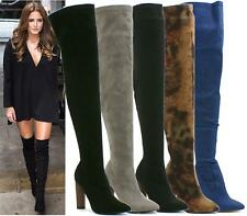 WOMENS OVER THE KNEE THIGH HIGH HIGH HEEL LADIES STRETCH FUAX SUEDE BOOTS SHOES